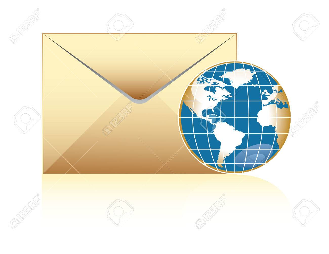 global mail concept, envelope and world delivery Stock Vector - 3578525