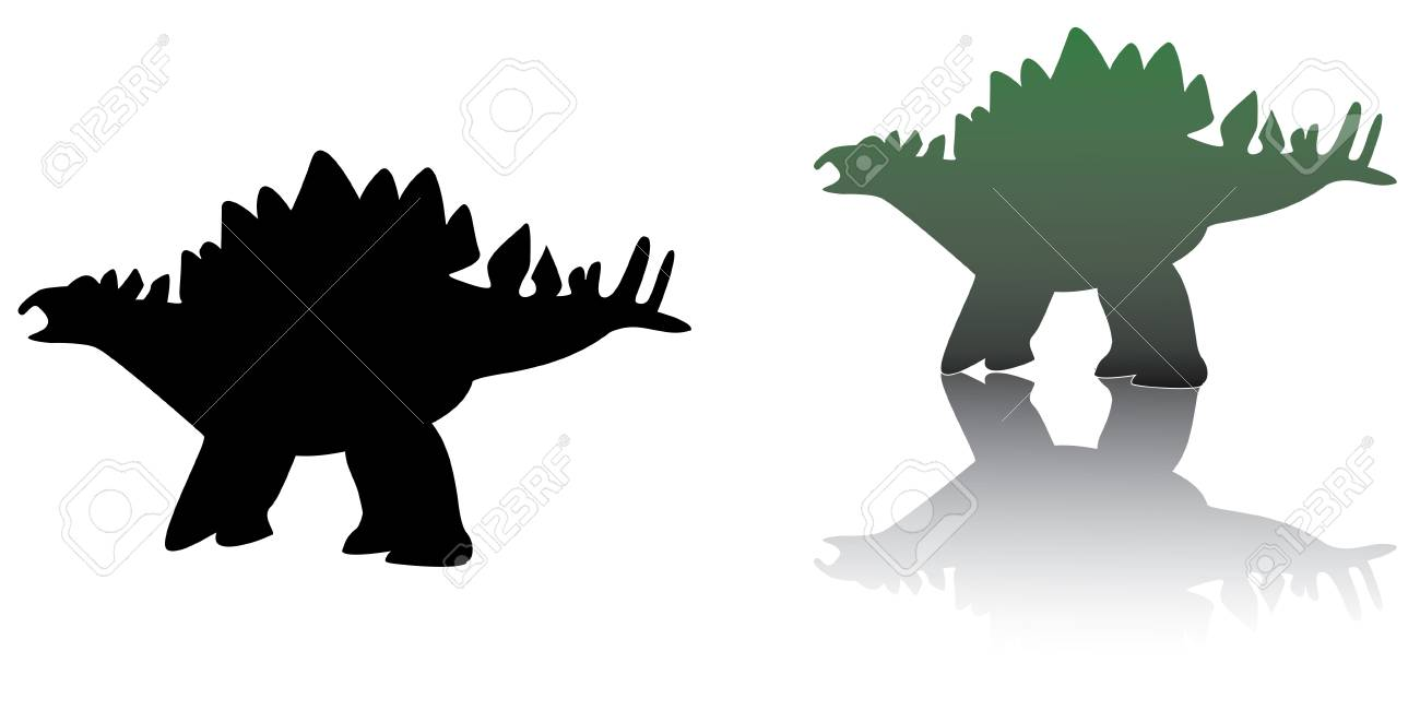 set of  stegosaurus in black and green colors Stock Vector - 3608394
