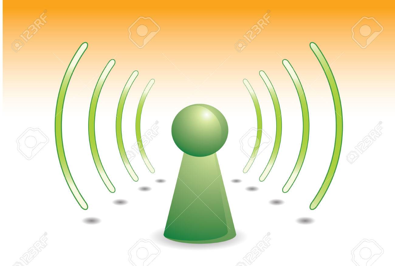 color person on green with wifi network  communication Stock Vector - 3608400