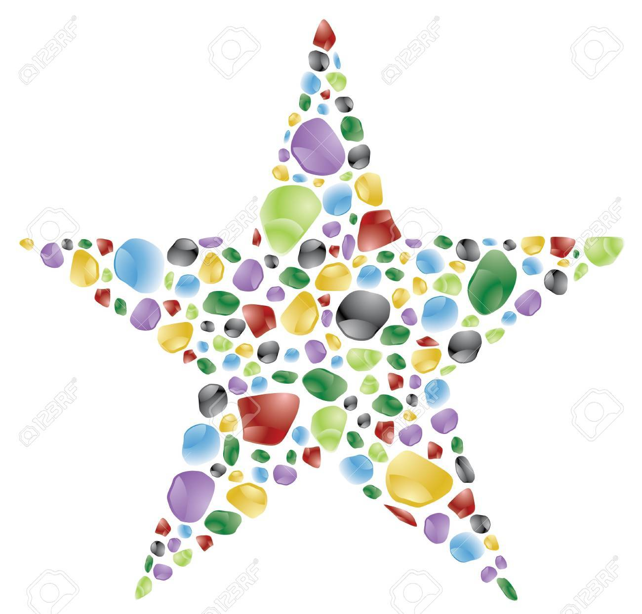 star made with color rounded rocks Stock Photo - 4030292