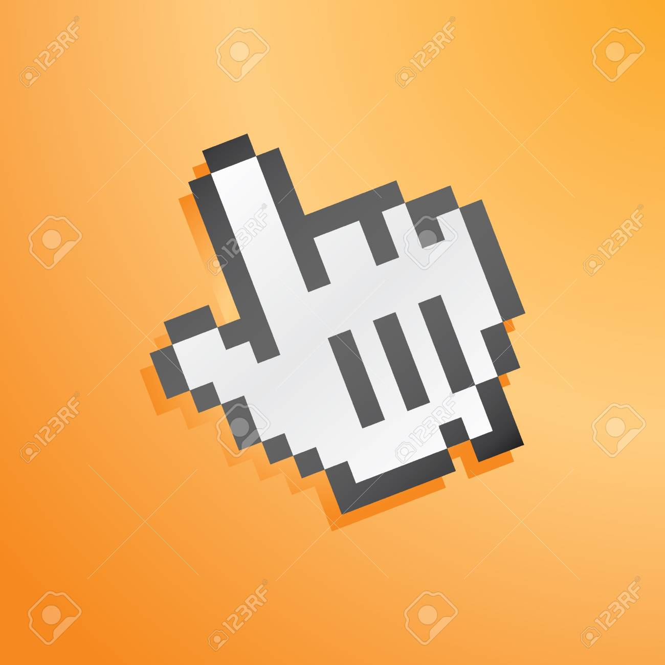 mouse hand icon orange for wallpaper Stock Photo - 4045489