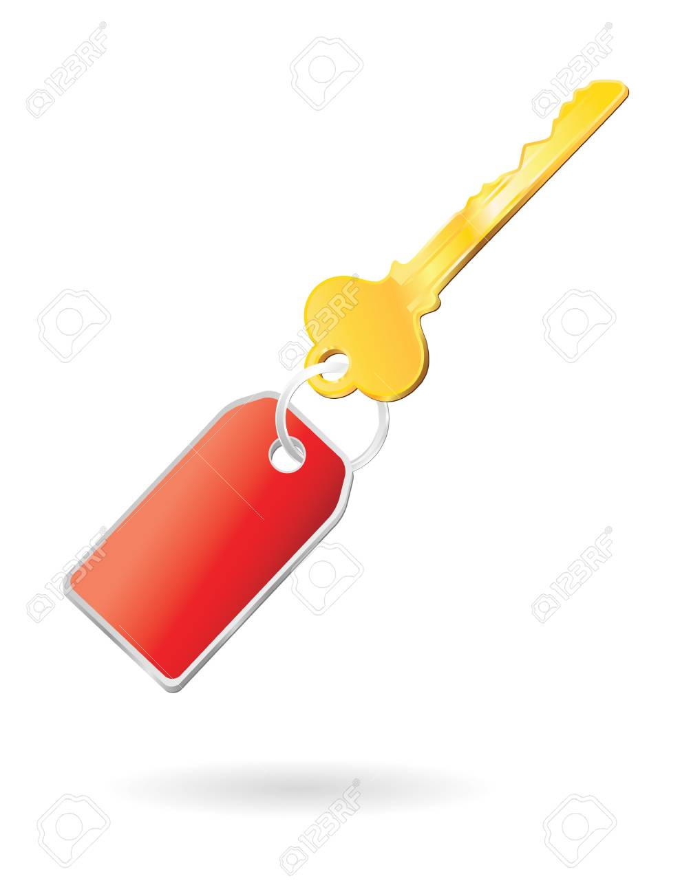 golden key with keychange in red Stock Photo - 4098628