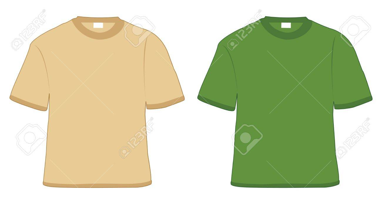 t-shirt khaki and green in vector Stock Photo - 4236409