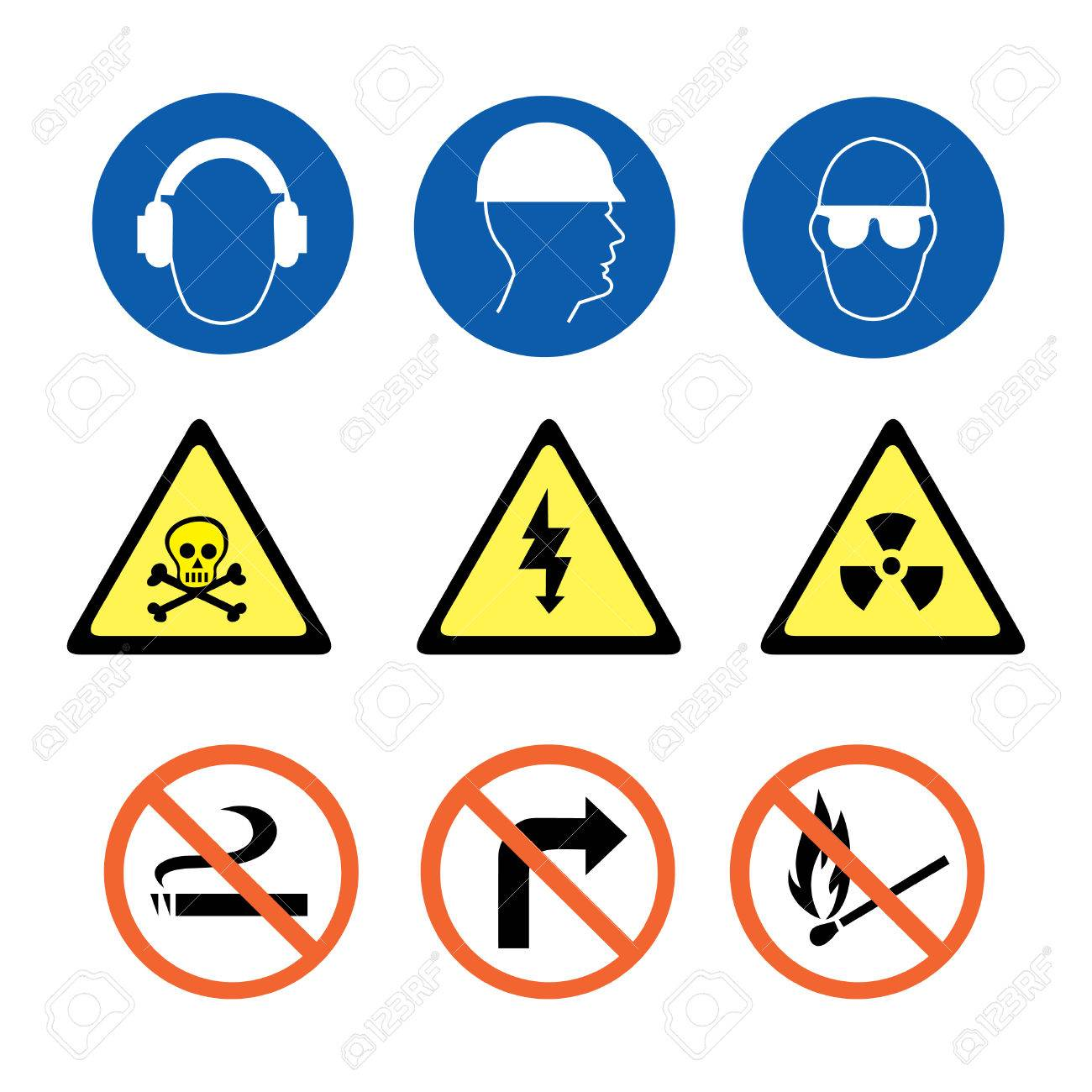 Security Signs in blue yellow and red Stock Vector - 4672472