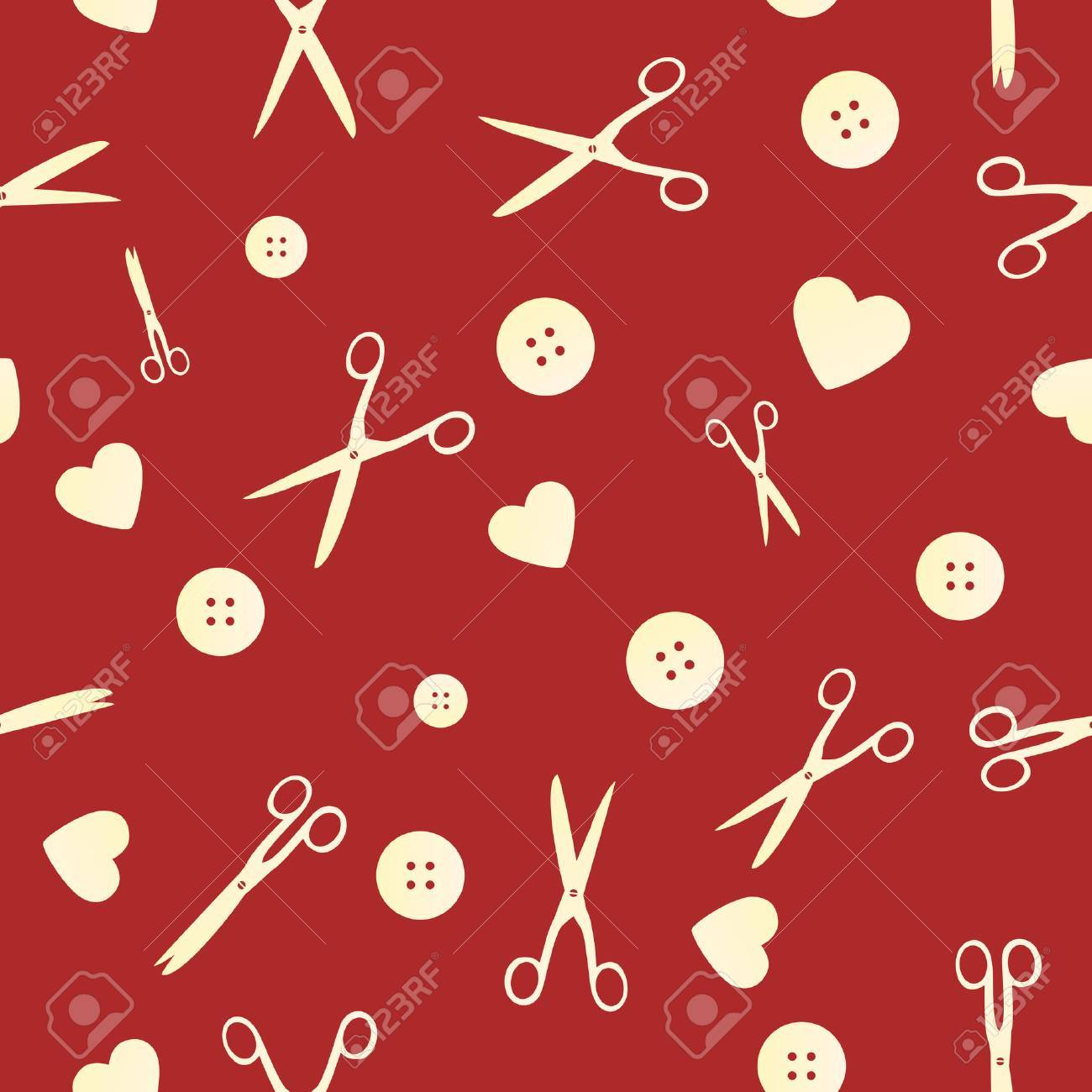 sewing tile with scissors, buttons and love Stock Vector - 4962980