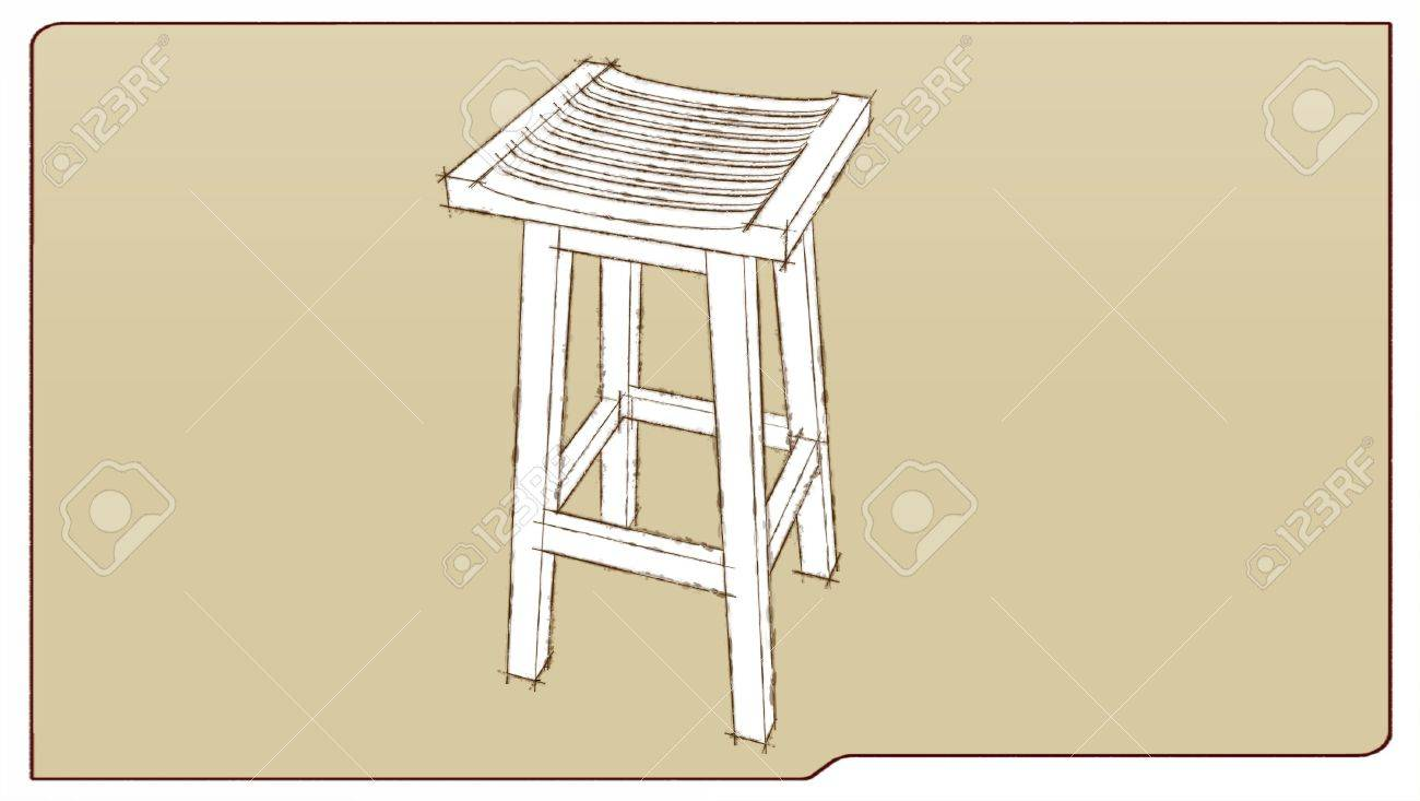 bar stool in sketch traces Stock Photo - 5428033