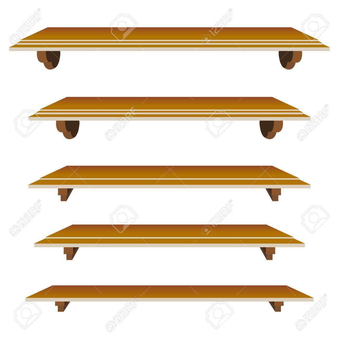 Interior wooden shelves free vector - Bookshelf Set Of Shelfs In Mode For Decor