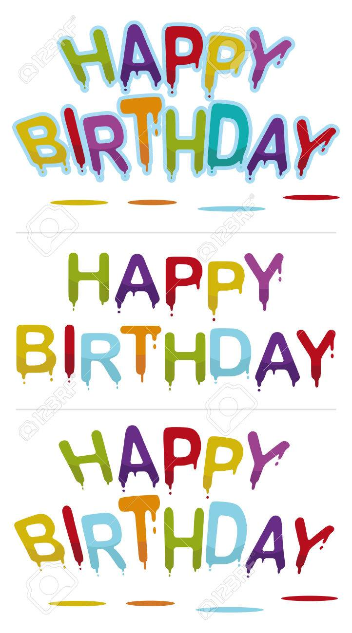 set of three happy birthday signs Stock Vector - 6596056