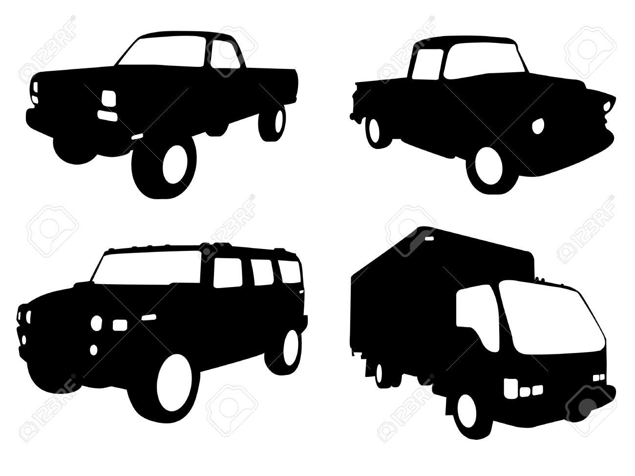 set of four truck silhouettes in black and white Stock Vector - 6829504