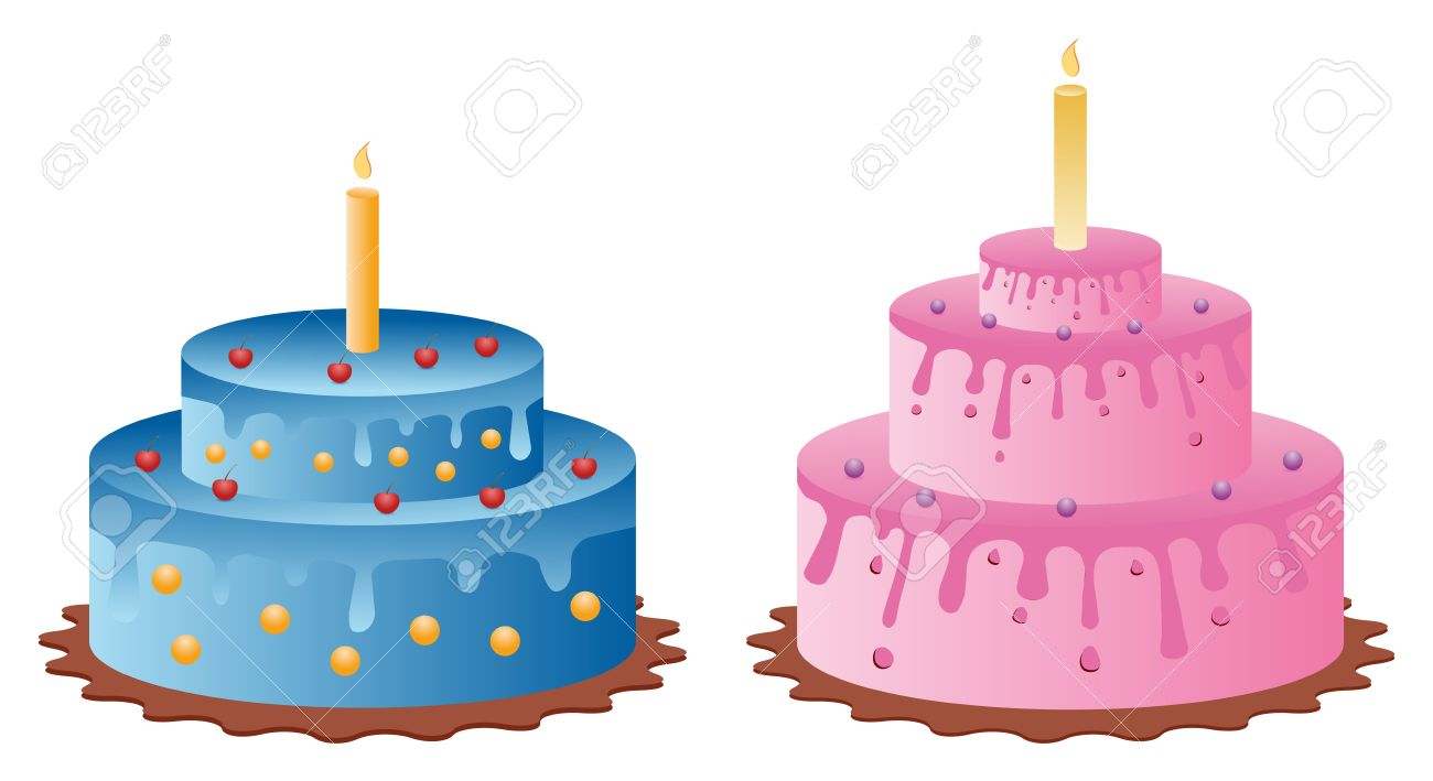 Birthday Cake Images Vektor ~ Set of two birthday cakes from celebration royalty free cliparts