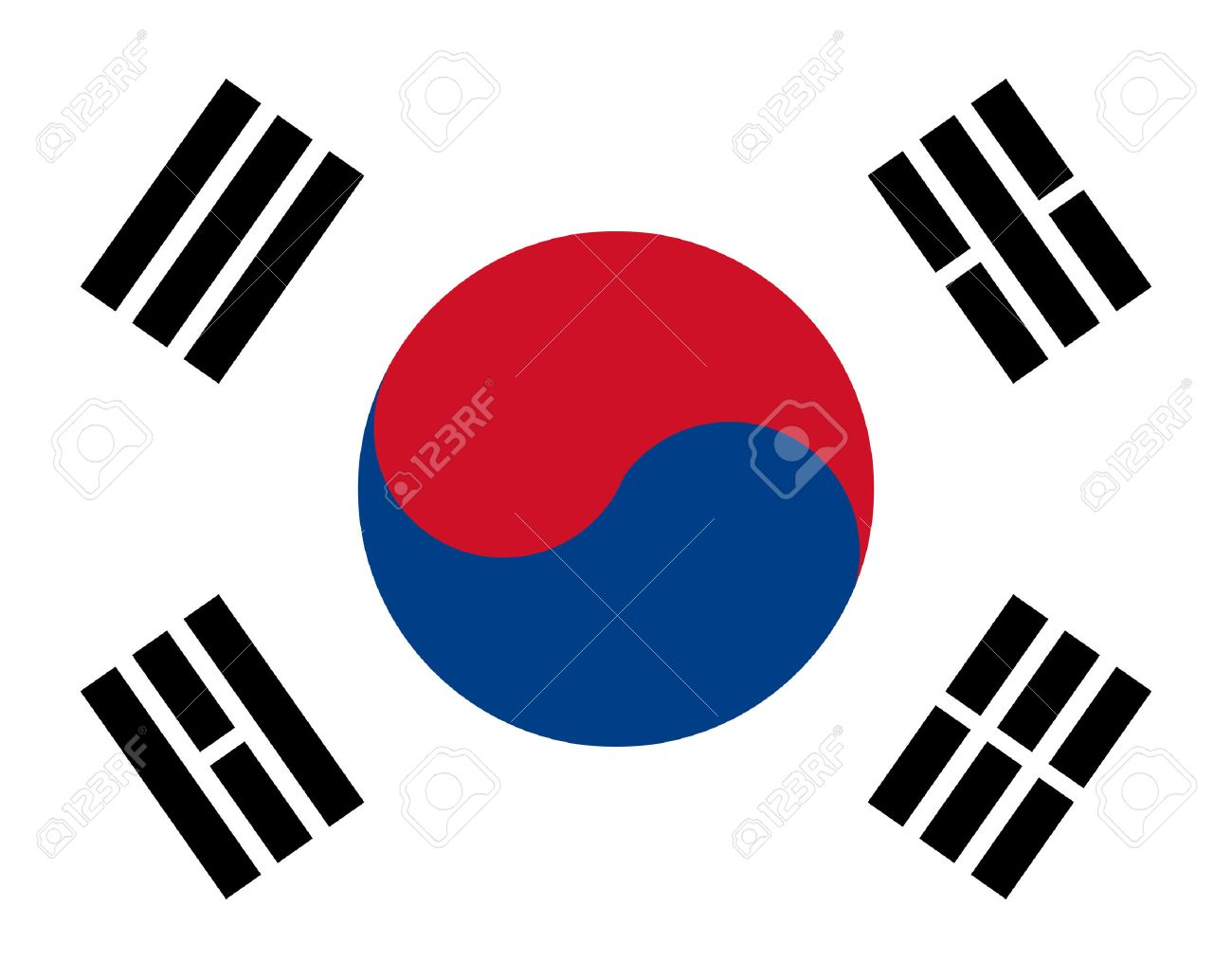 korea flag with red, blue and white colors Stock Vector - 6894933