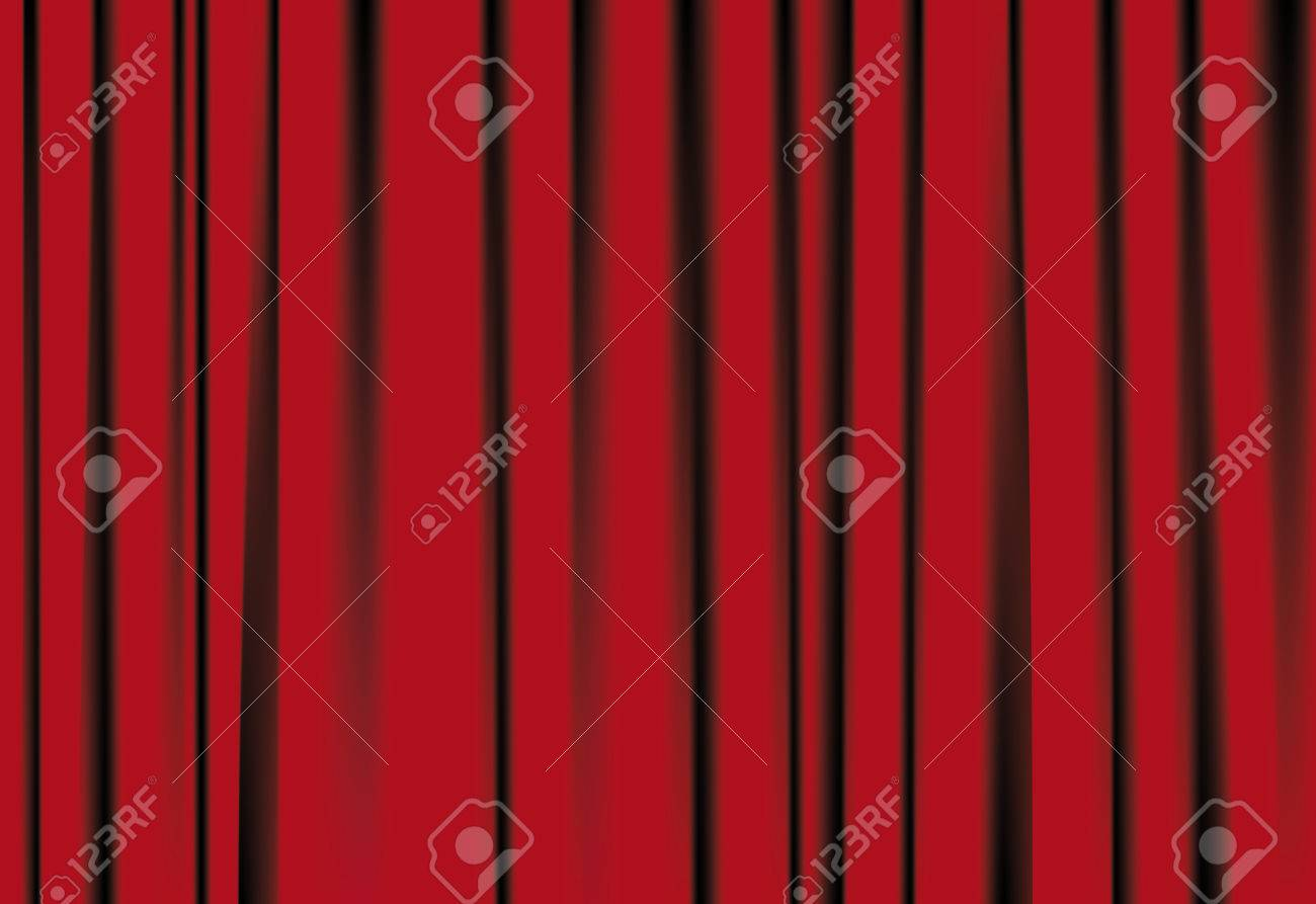 Red curtains for famous background, with shadows Stock Vector - 7232793