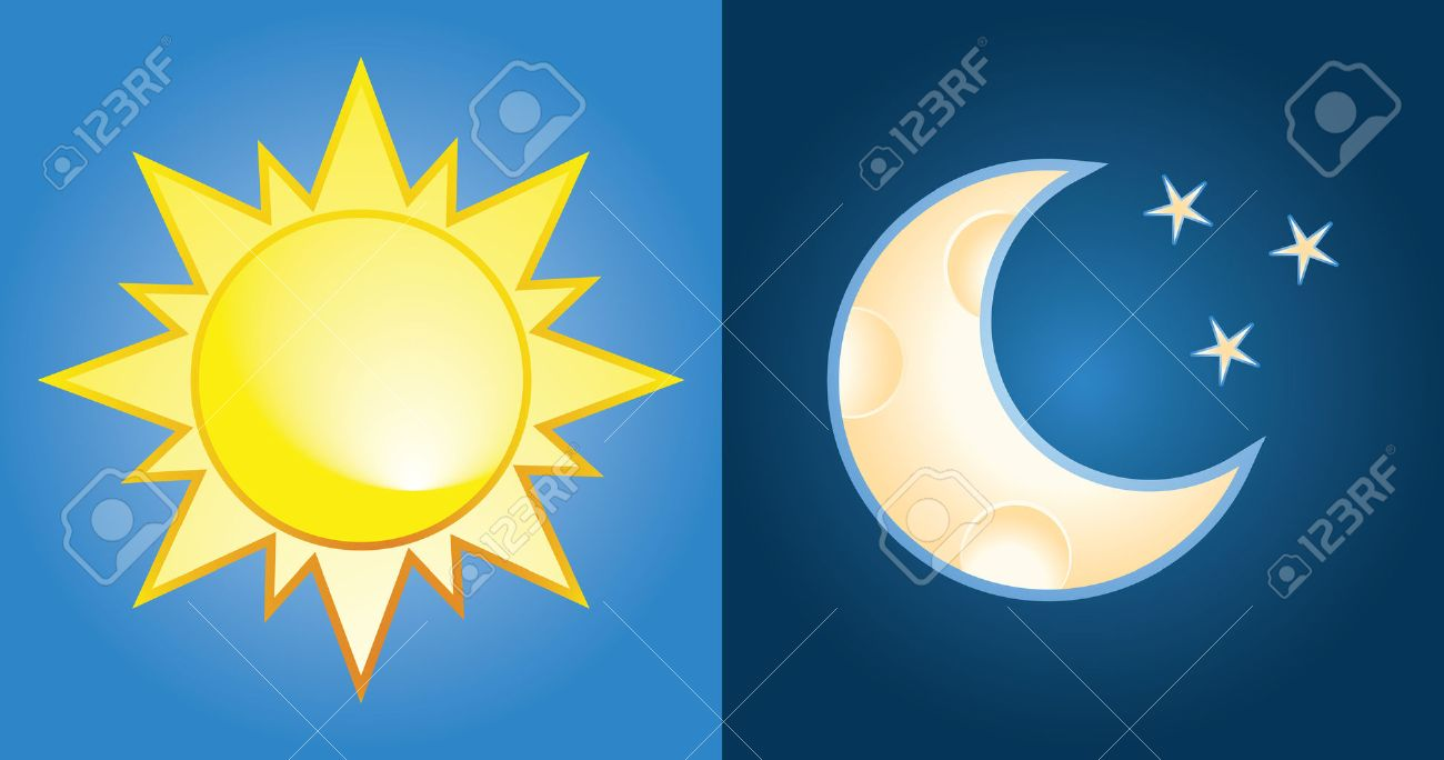 set of sun and moon, day and night Stock Vector - 7266187