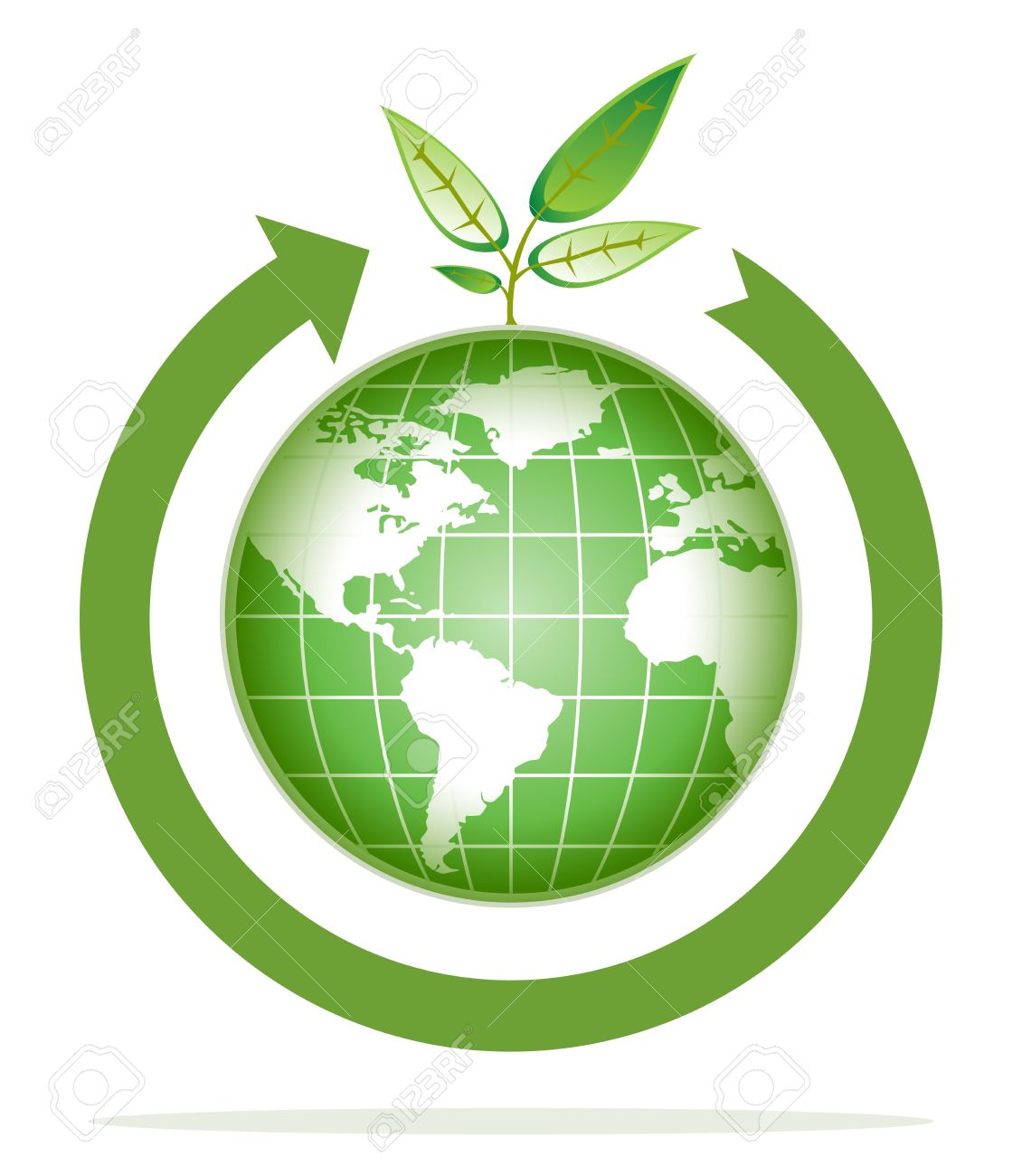 Green World For Recycling Go Green Royalty Free Cliparts Vectors