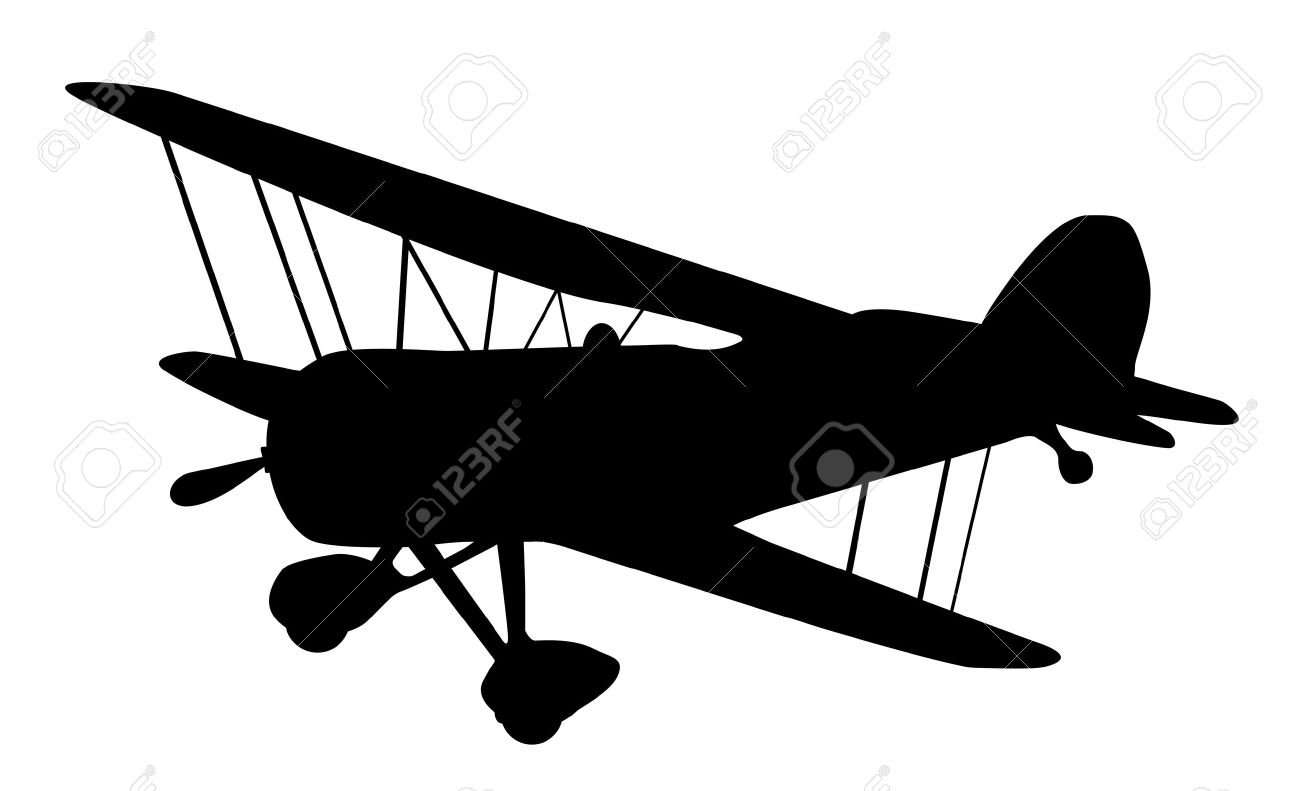 Vintage Biplane Silhouette Balck And White Royalty Free Cliparts