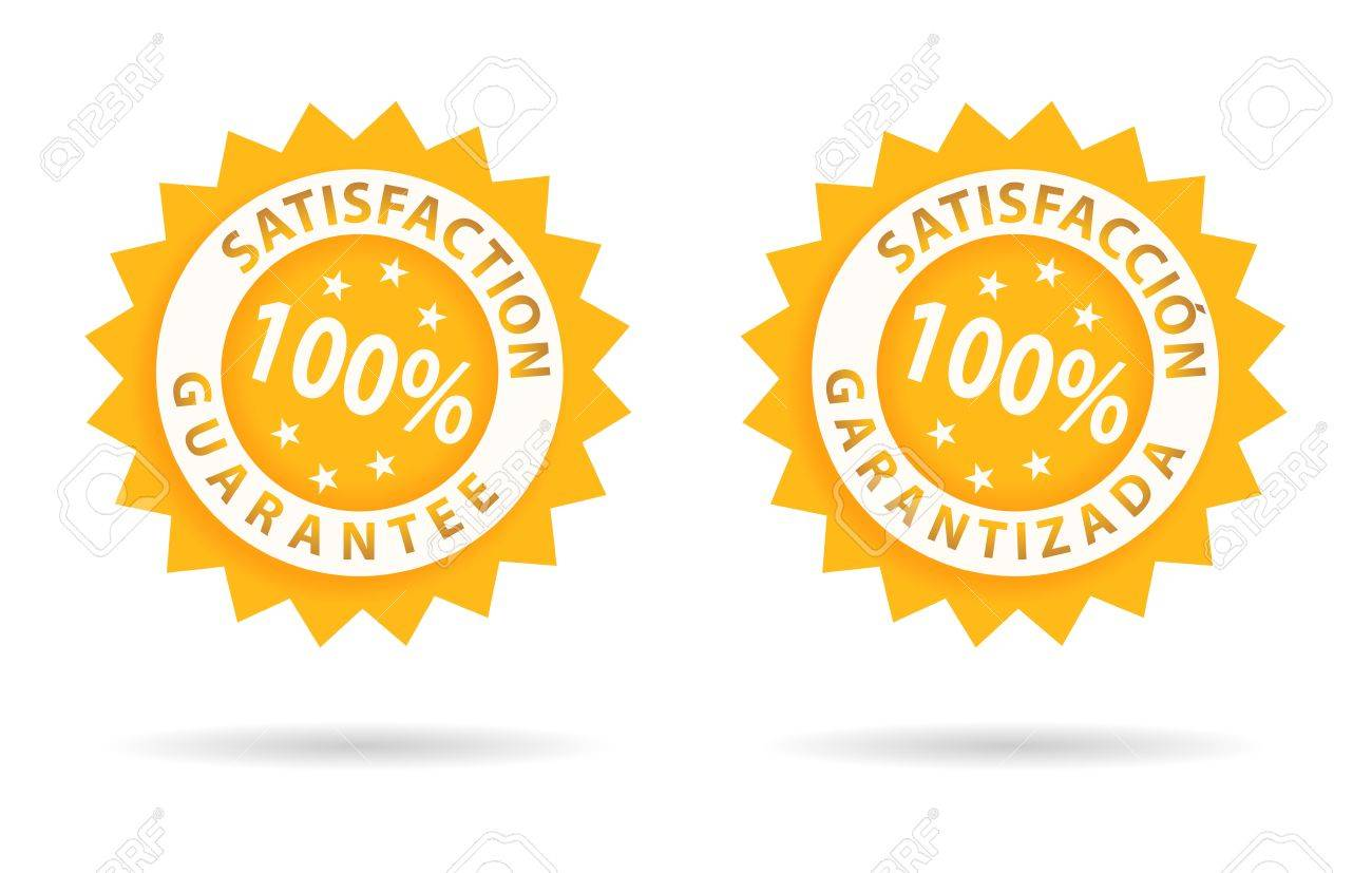 satisfaction guarantee 100%, in english or spanish Stock Vector - 10204517
