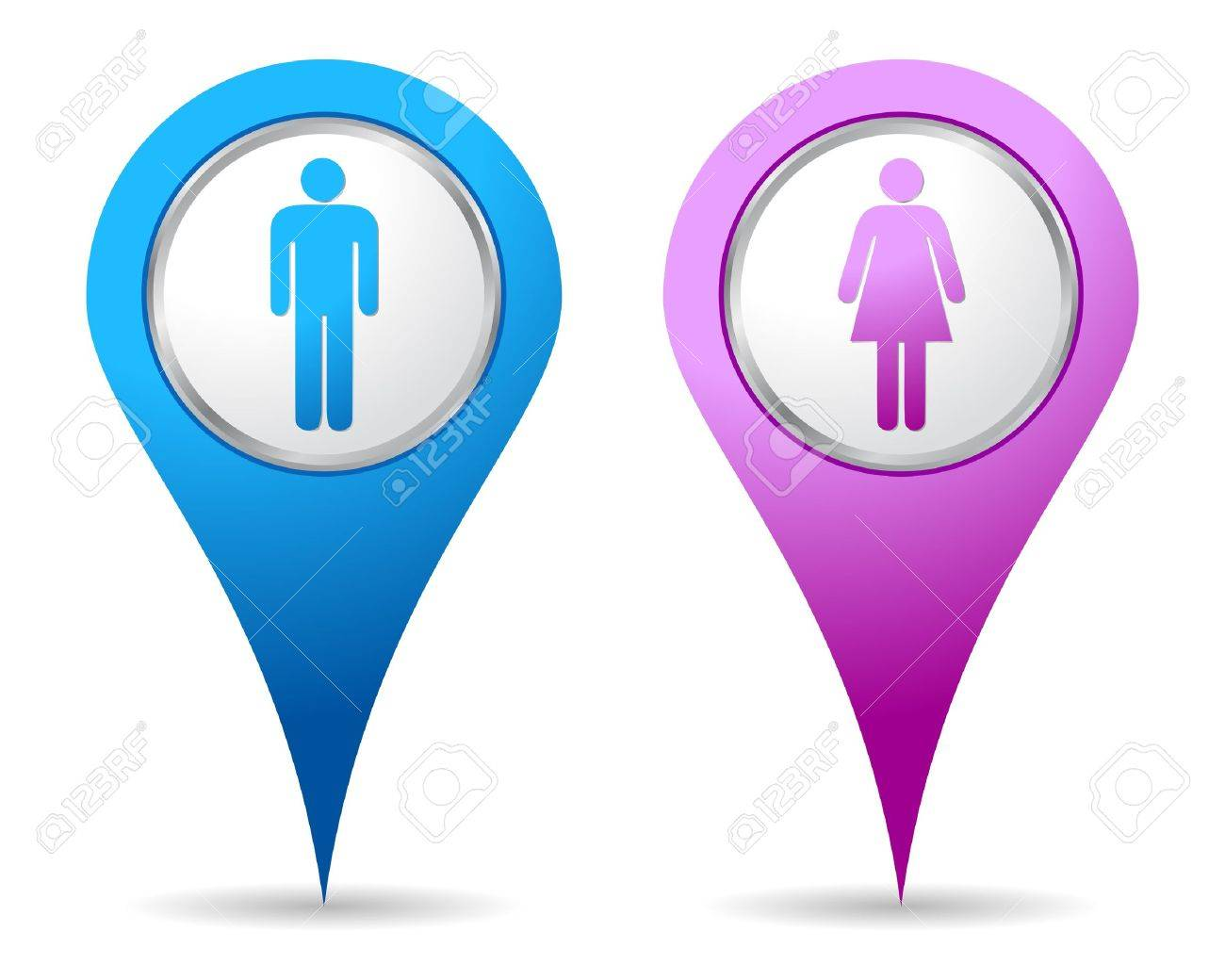 blue and pink location woman men icon Stock Vector - 10359240