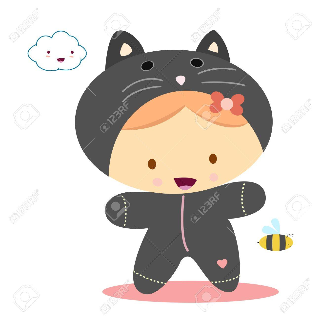 girl with cat costume, kawaii style Stock Vector - 10424665