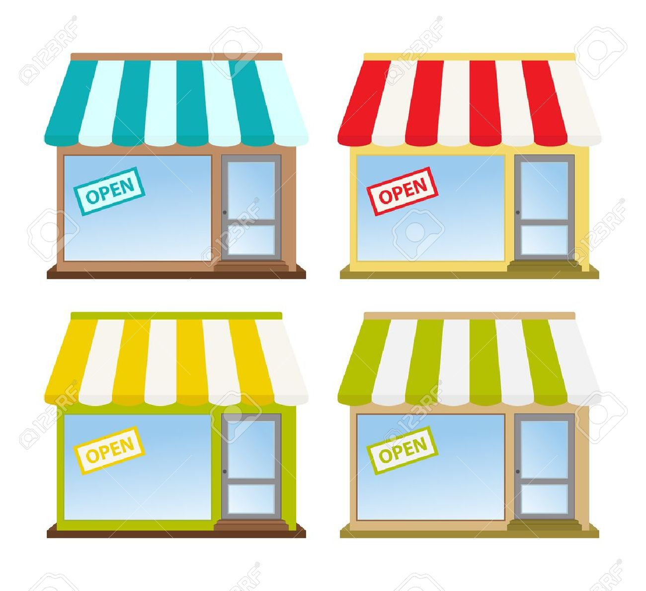 four color store fronts Stock Vector - 10860820