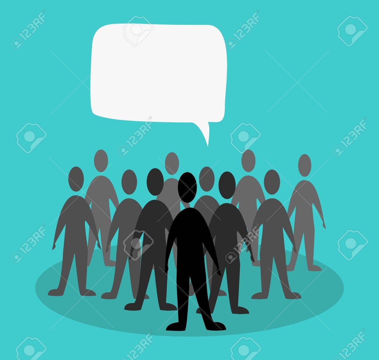 crowd speak concept in green background Stock Vector - 11013881