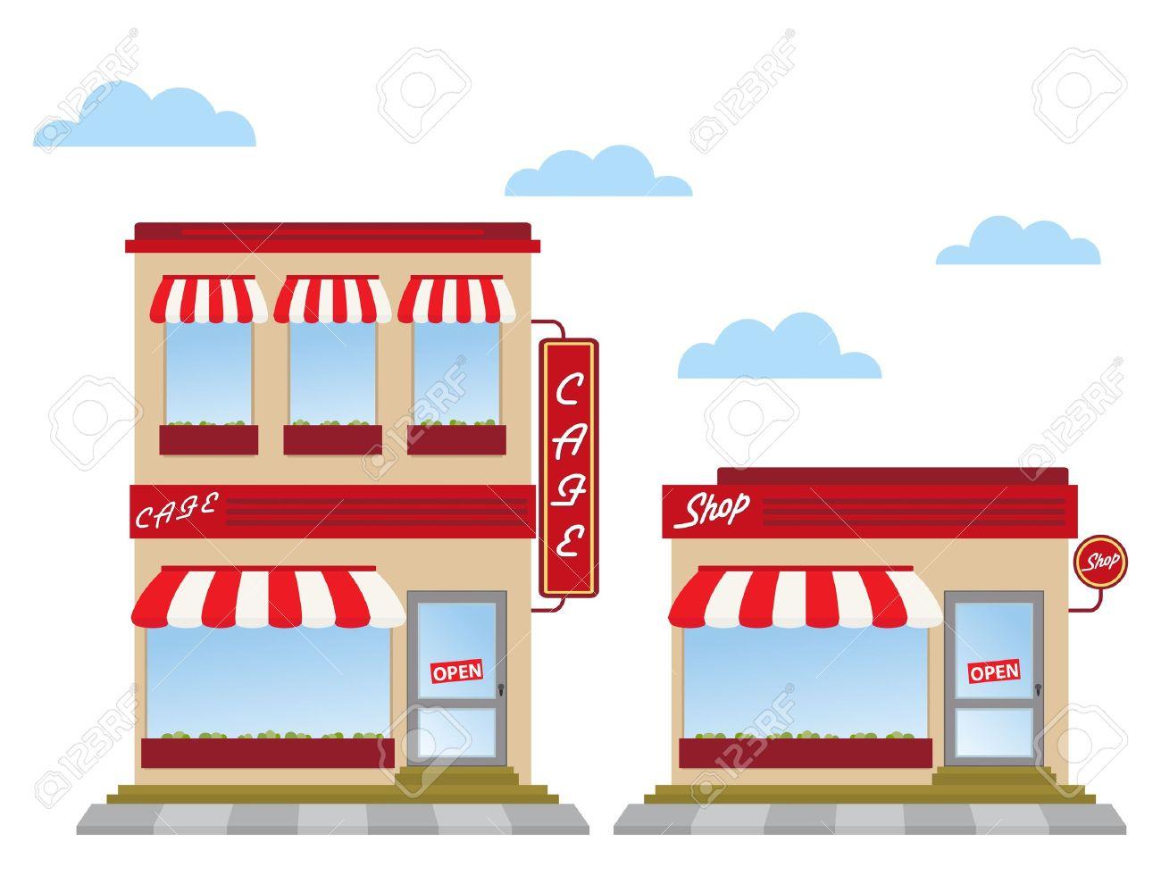 Fancy restaurant buildings clip art - Restaurant Exterior Cafe And Shop Store Fronts