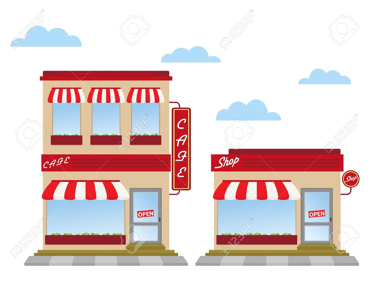 Cafe And Shop Store Fronts Stock Vector