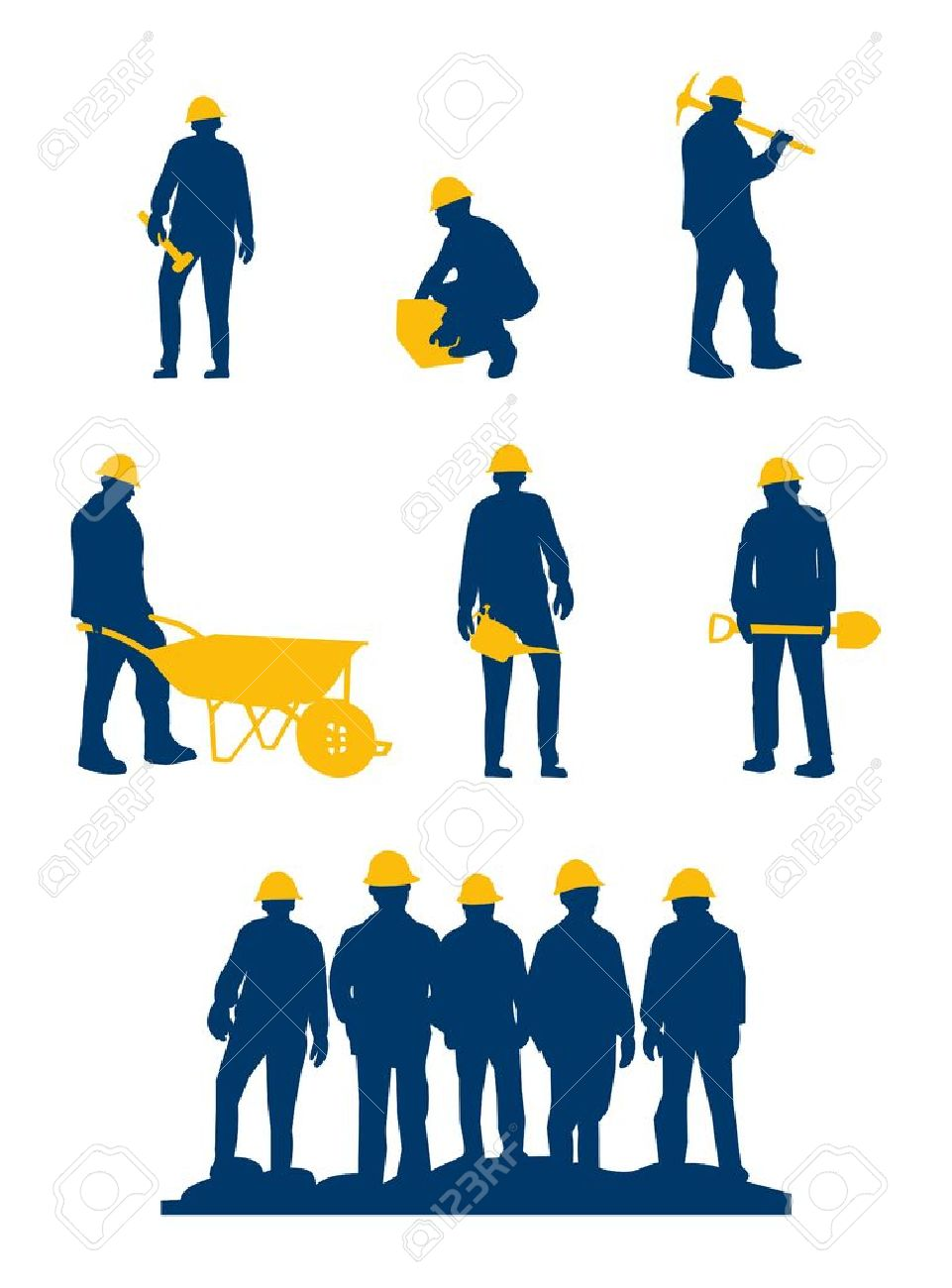 workers silhouette with yellow tools and helmet Stock Vector - 13849437