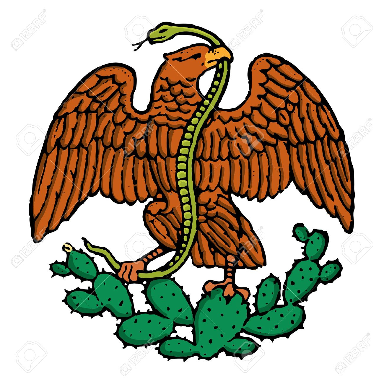 color eagle and snake from mexican flag royalty free cliparts