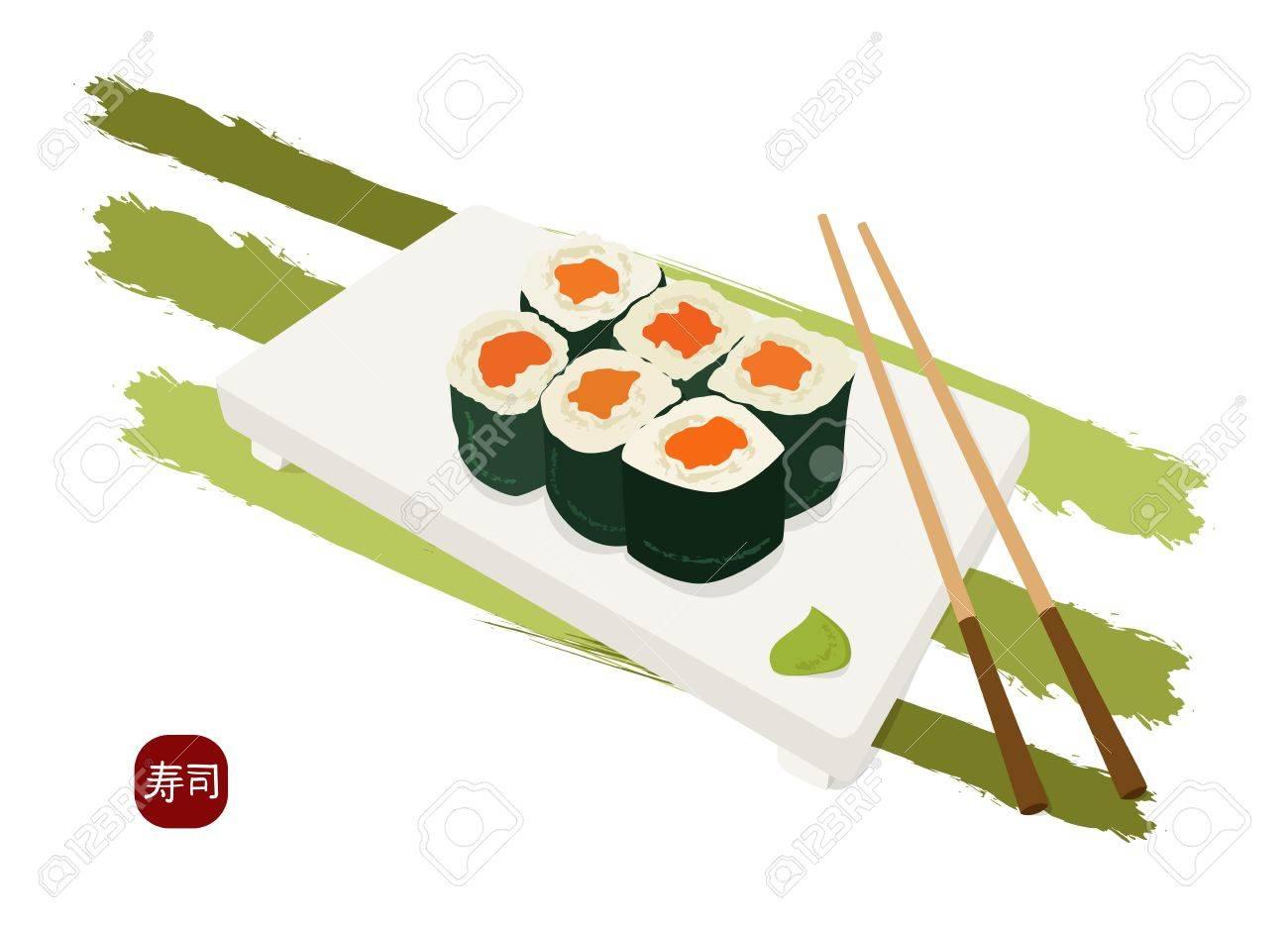 shushi maki plate , chopsticks and wasabi - 14341756