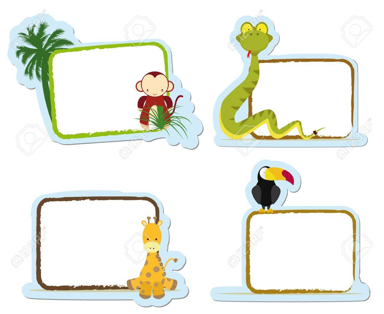 four animal stickers for school, monkey, snake, giraffe and toucan Stock Vector - 14575721