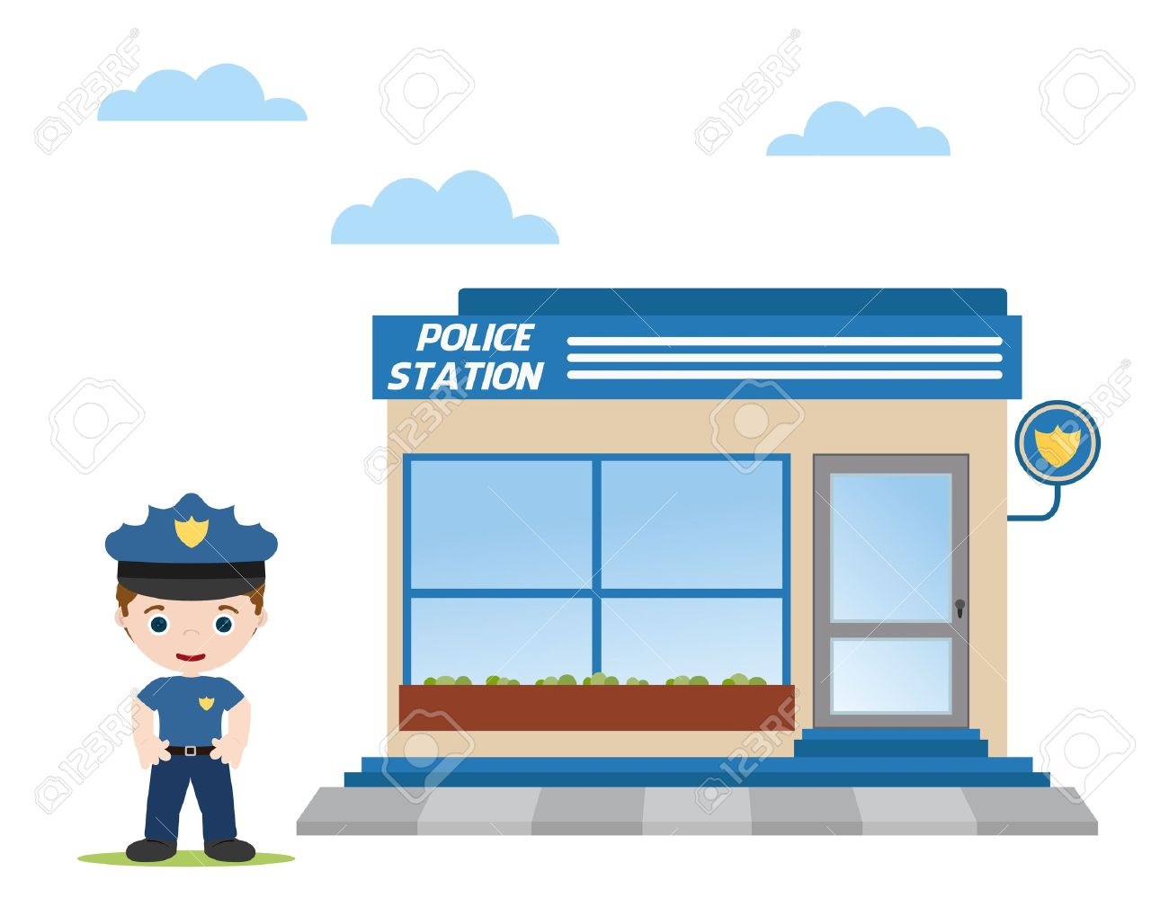 police station with police officer in front - 14782445