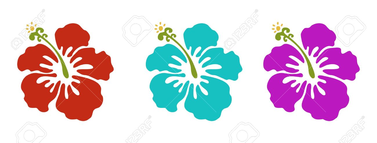 Hawaiian Flowers Set Red Green And Purple Stock Vector
