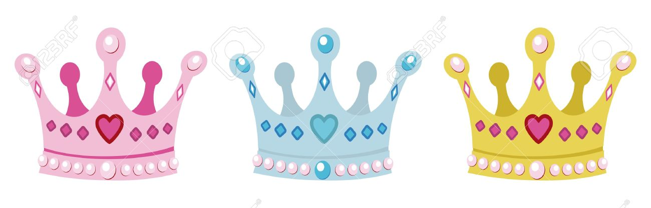 set crowns for princess, pink, blue and gold - 15197668