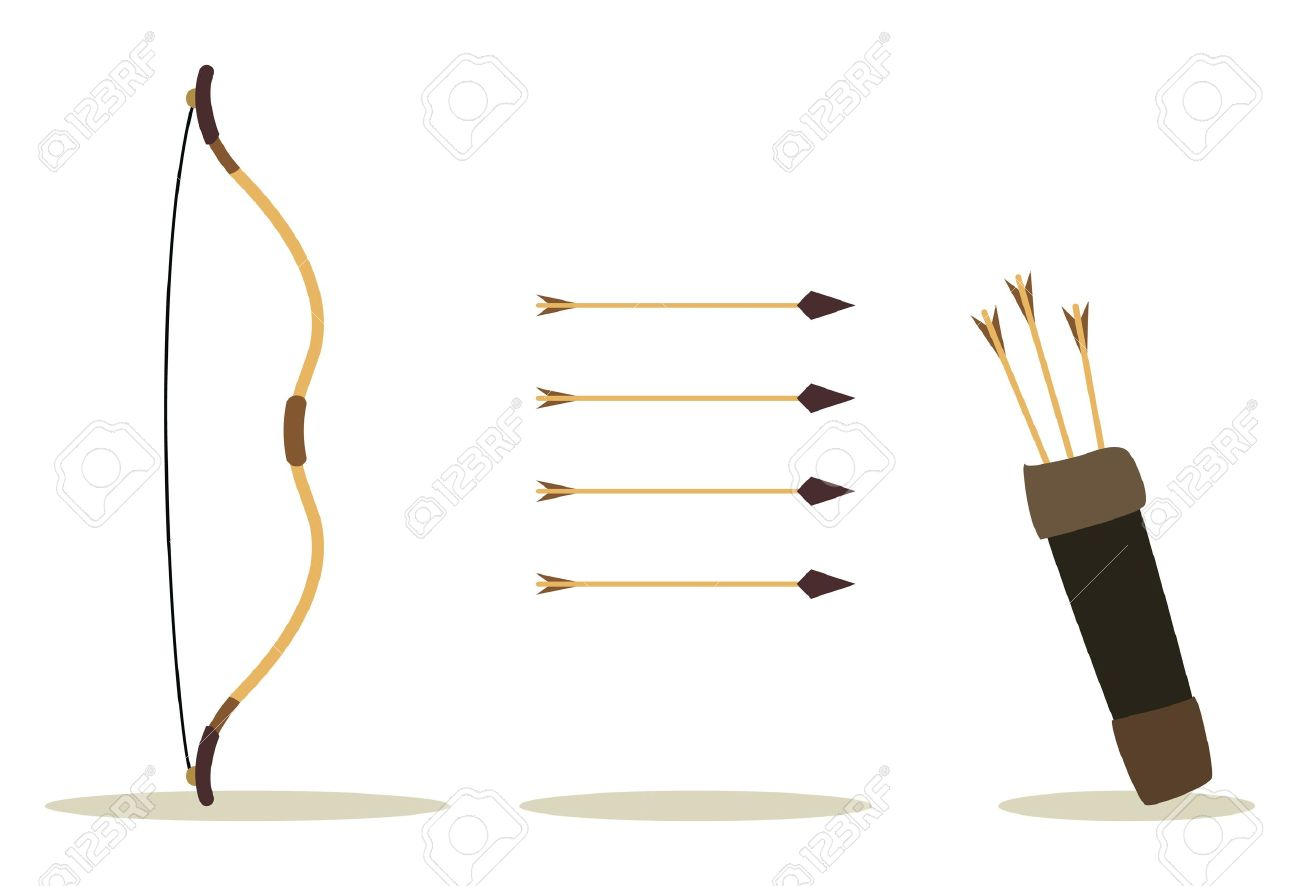 bow, arrow and case, hit int the center Stock Vector - 15197667