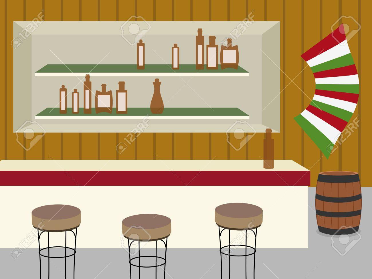 Interior Del Bar, Salón O Cantina En El Viejo Oeste Ilustraciones ...