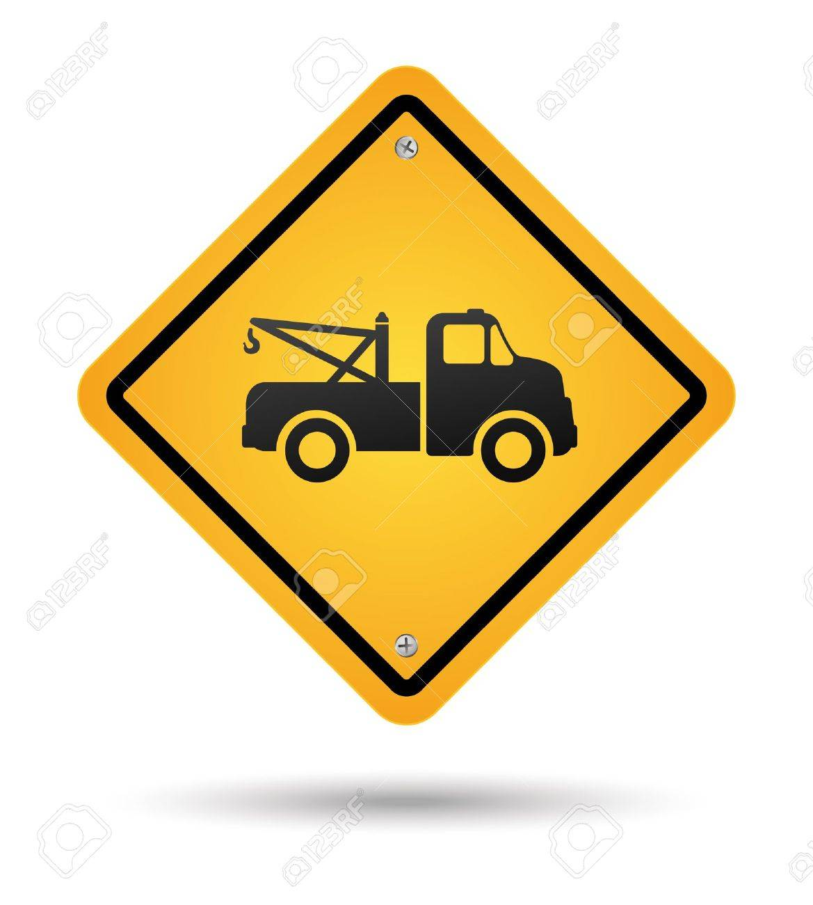 yellow tow road sign isolated - 15603182