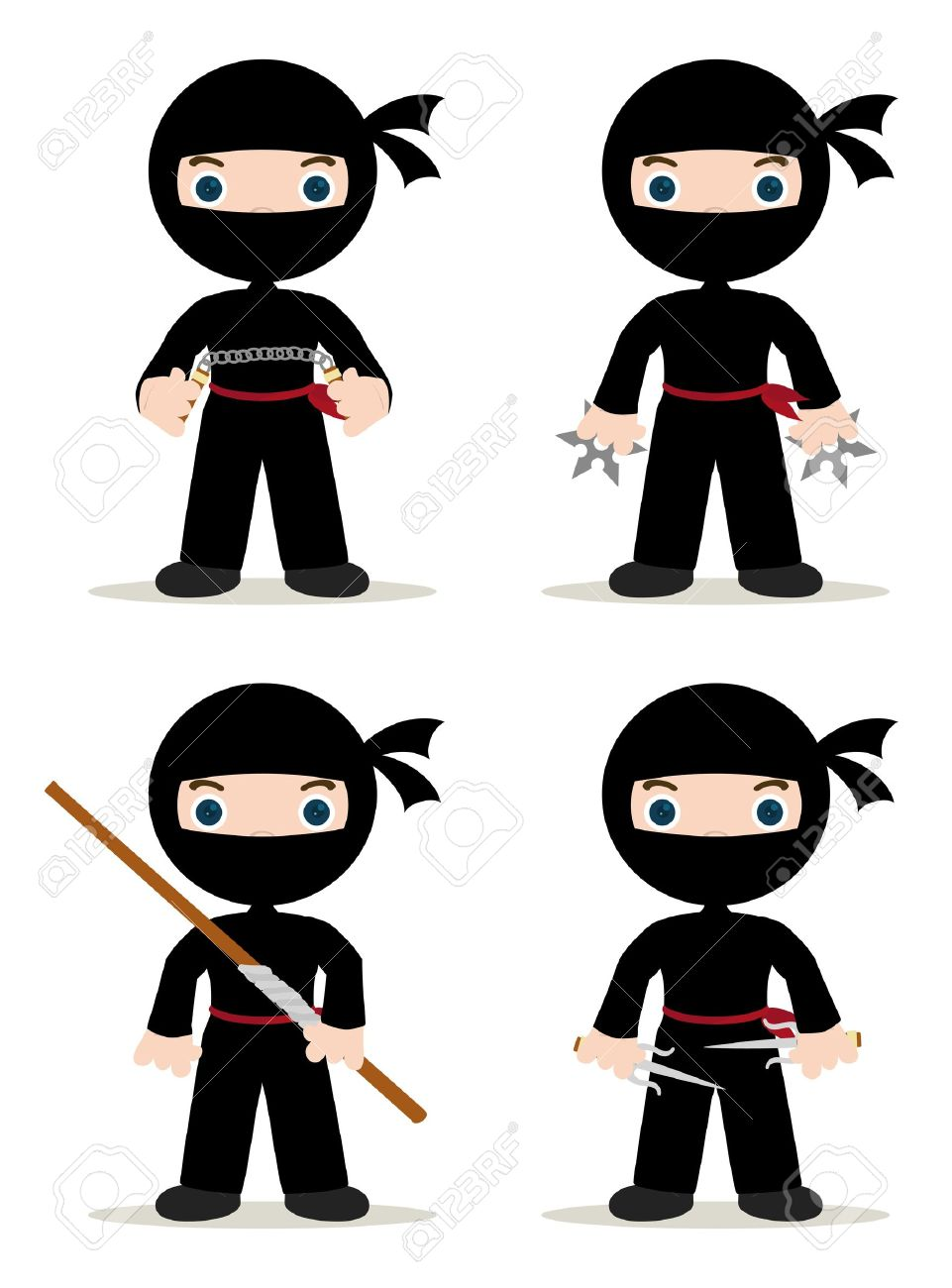 set of 4 ninjas with weapons - 16150413