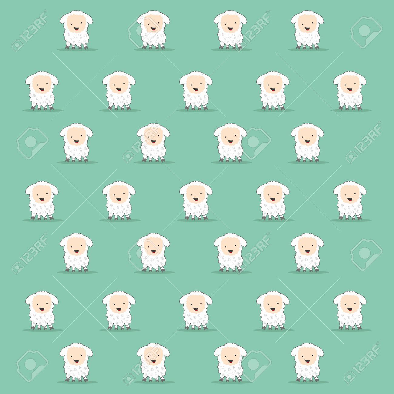 Cute Cartoon Sheep Texture In Green Stock Vector