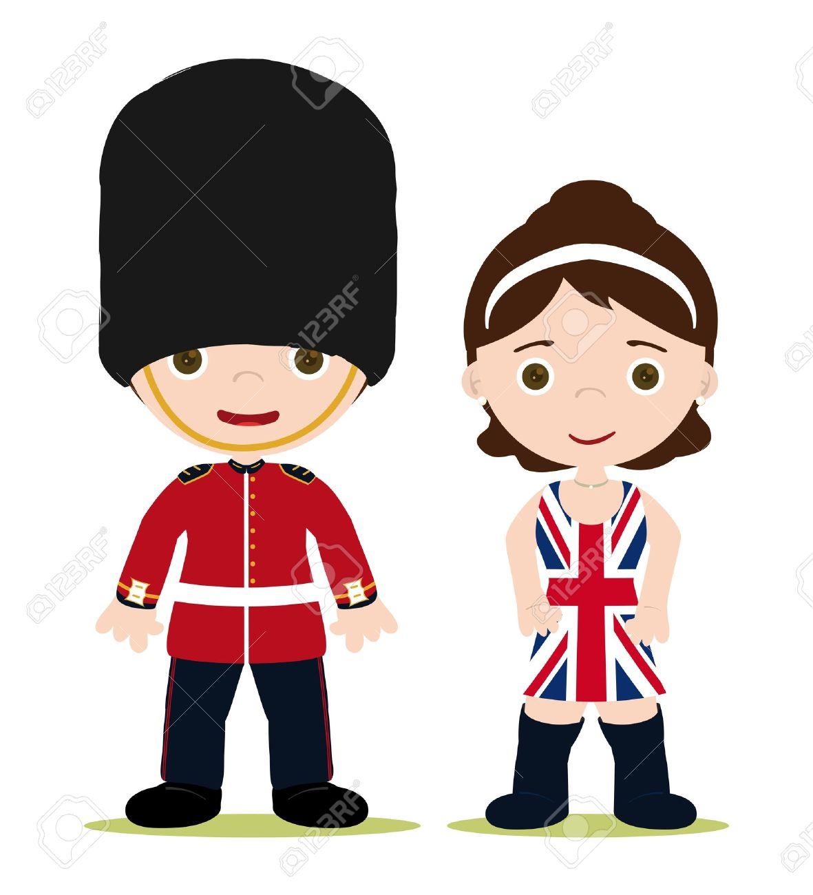 England Royal guard and girl with Union Jack dress - 16428924
