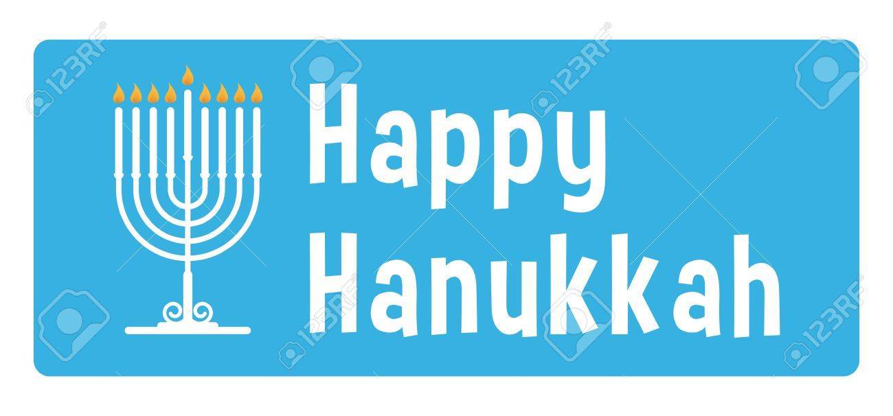 Hanukkah blue sticker with candle - 16461784