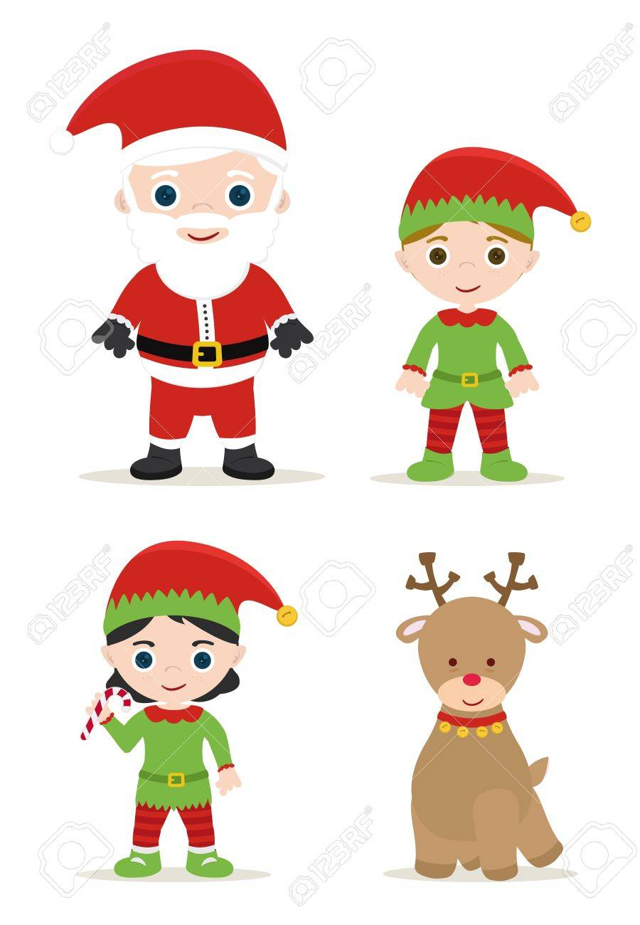 cute xmas set, santa, elves and deer - 16510827