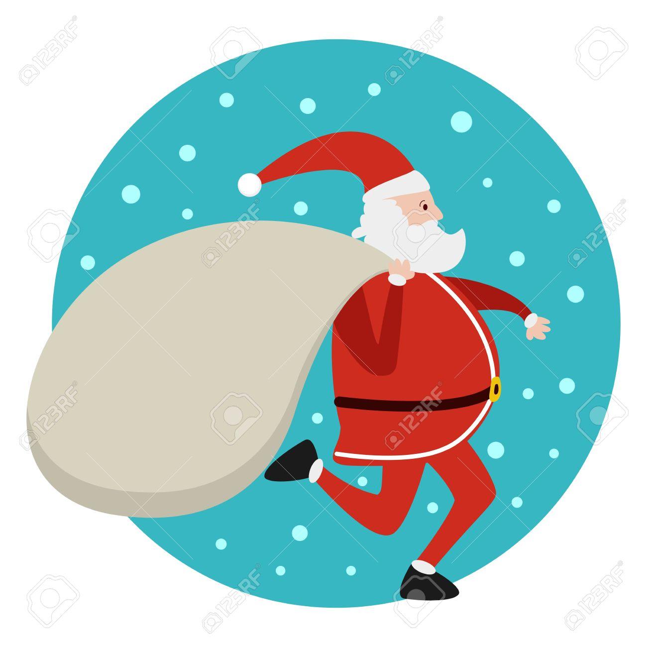 pap noel corriendo con la bolsa de regalos de navidad foto de archivo