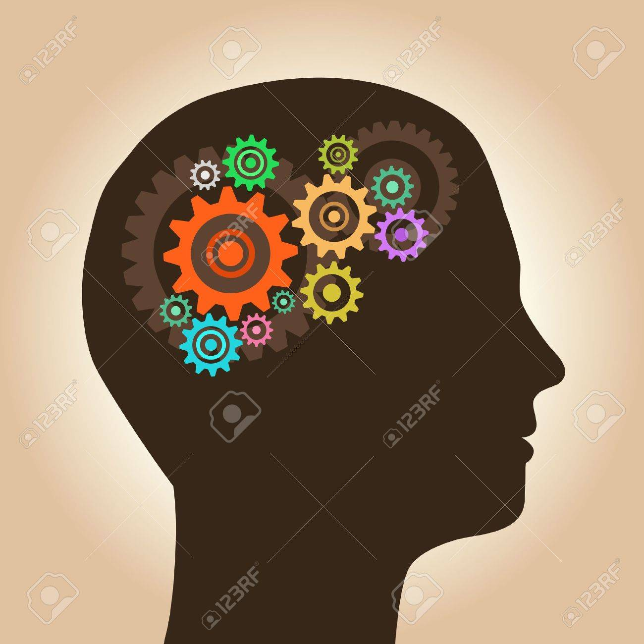 Intelligence concept, men with ideas and gears - 16881701