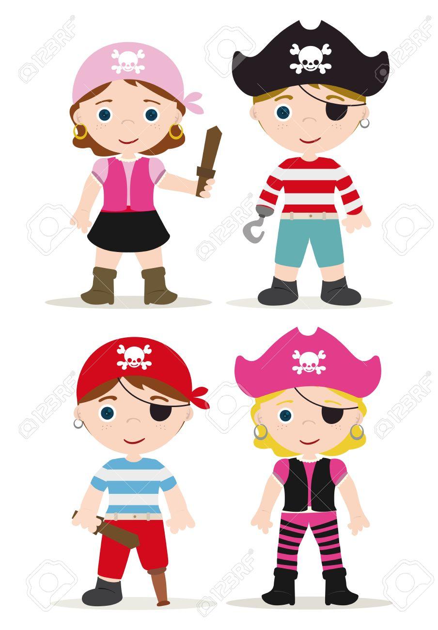 cute set of children pirates stock vector 16926821