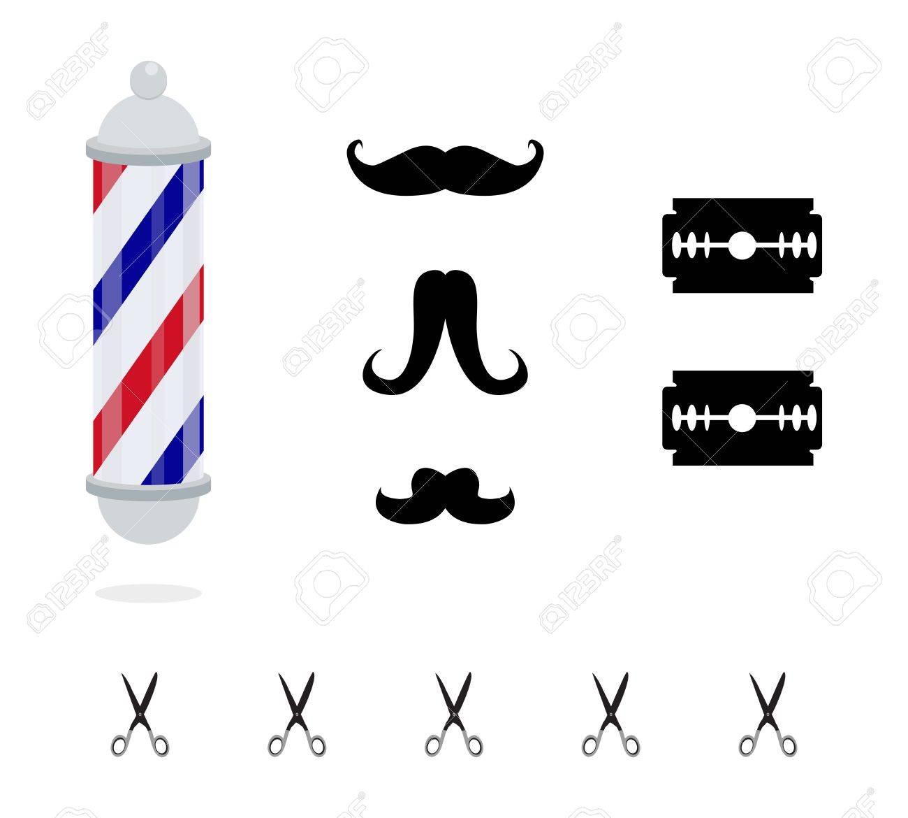elements of barber shop set - 17317384