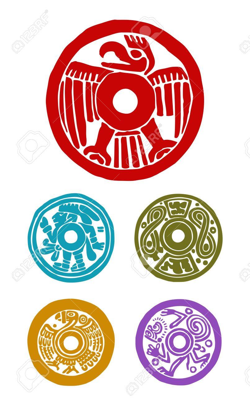 five mayan symbols, animals and human - 17805817