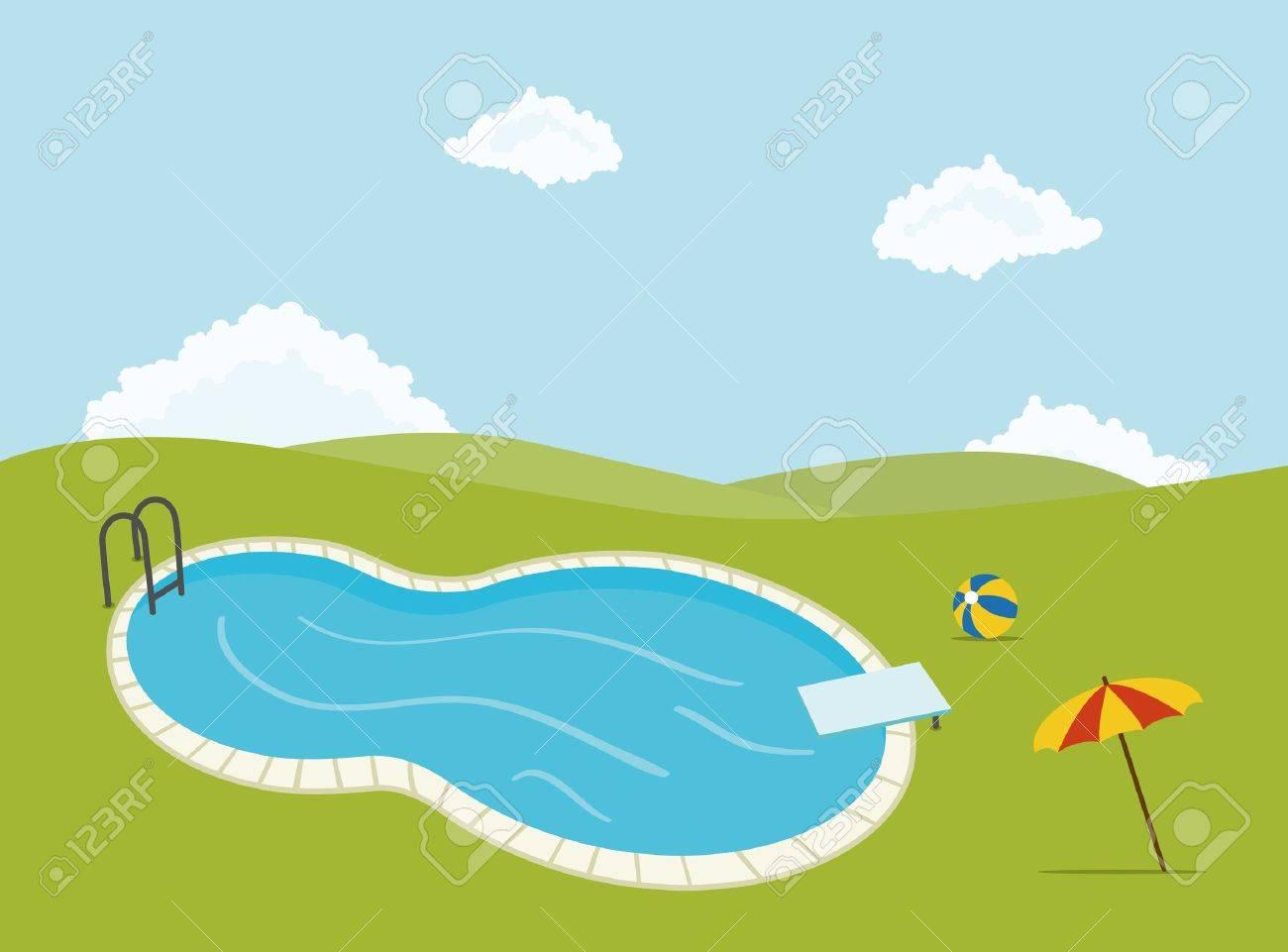 Zwembad Voor Feesten, Met Paraplu En Bal Royalty Vrije Cliparts ...