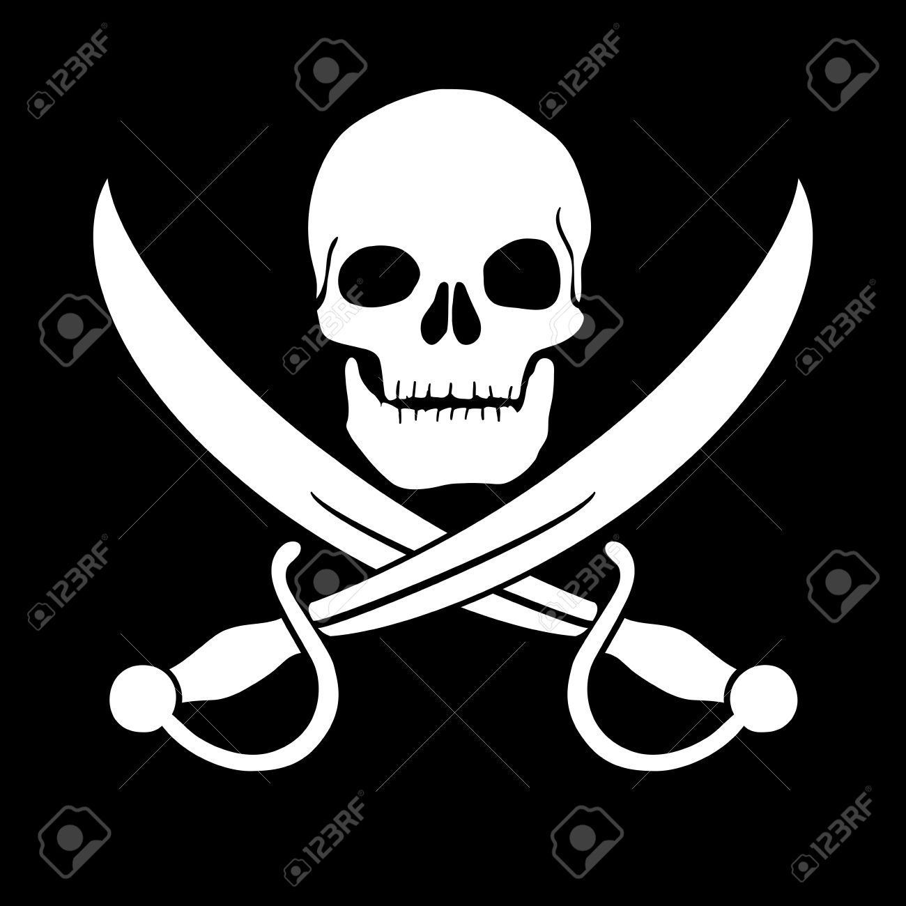 Pirate skull and blades, Jolly Roger Stock Vector - 19569697