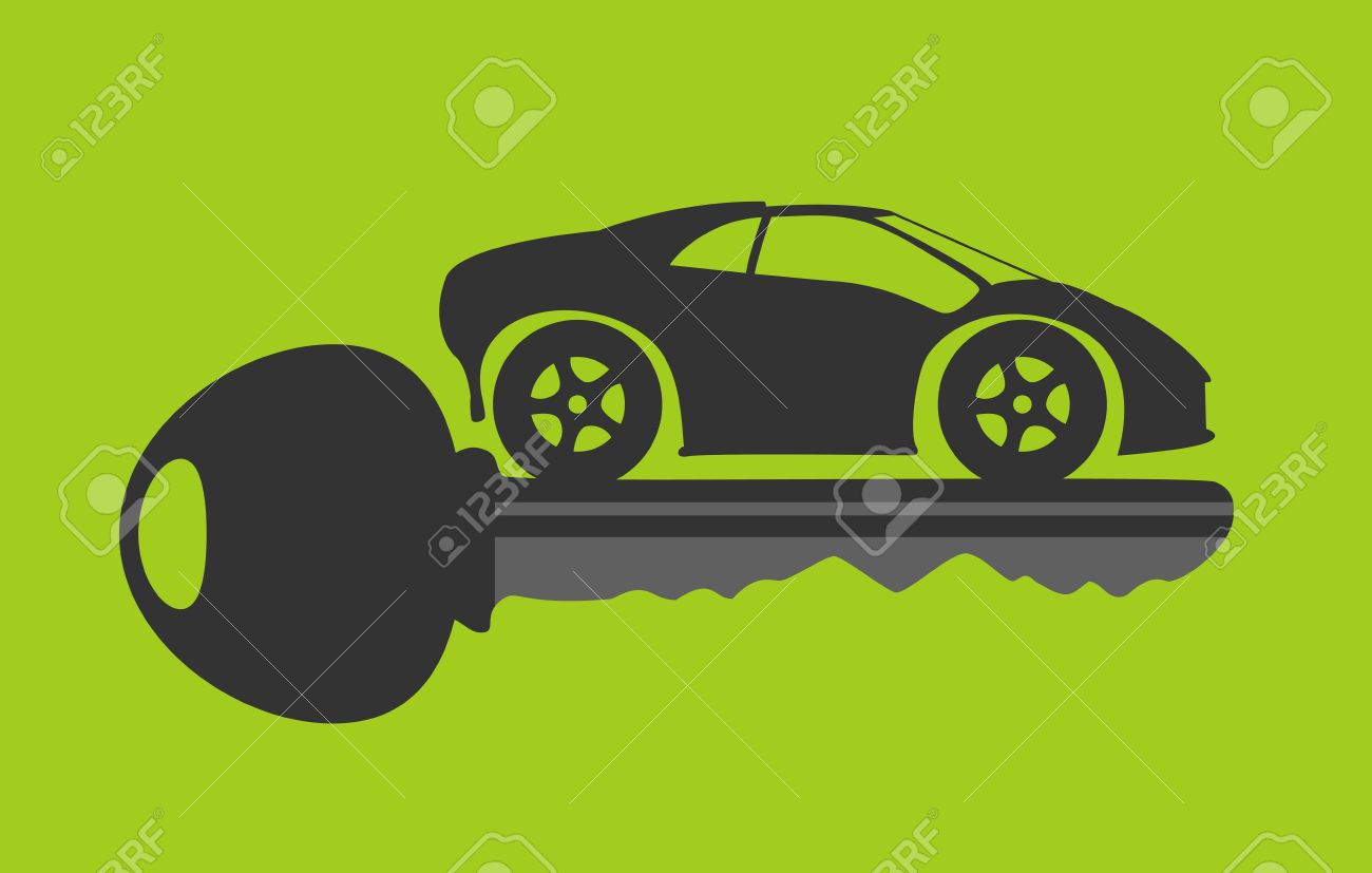 new car key in green background - 20889496