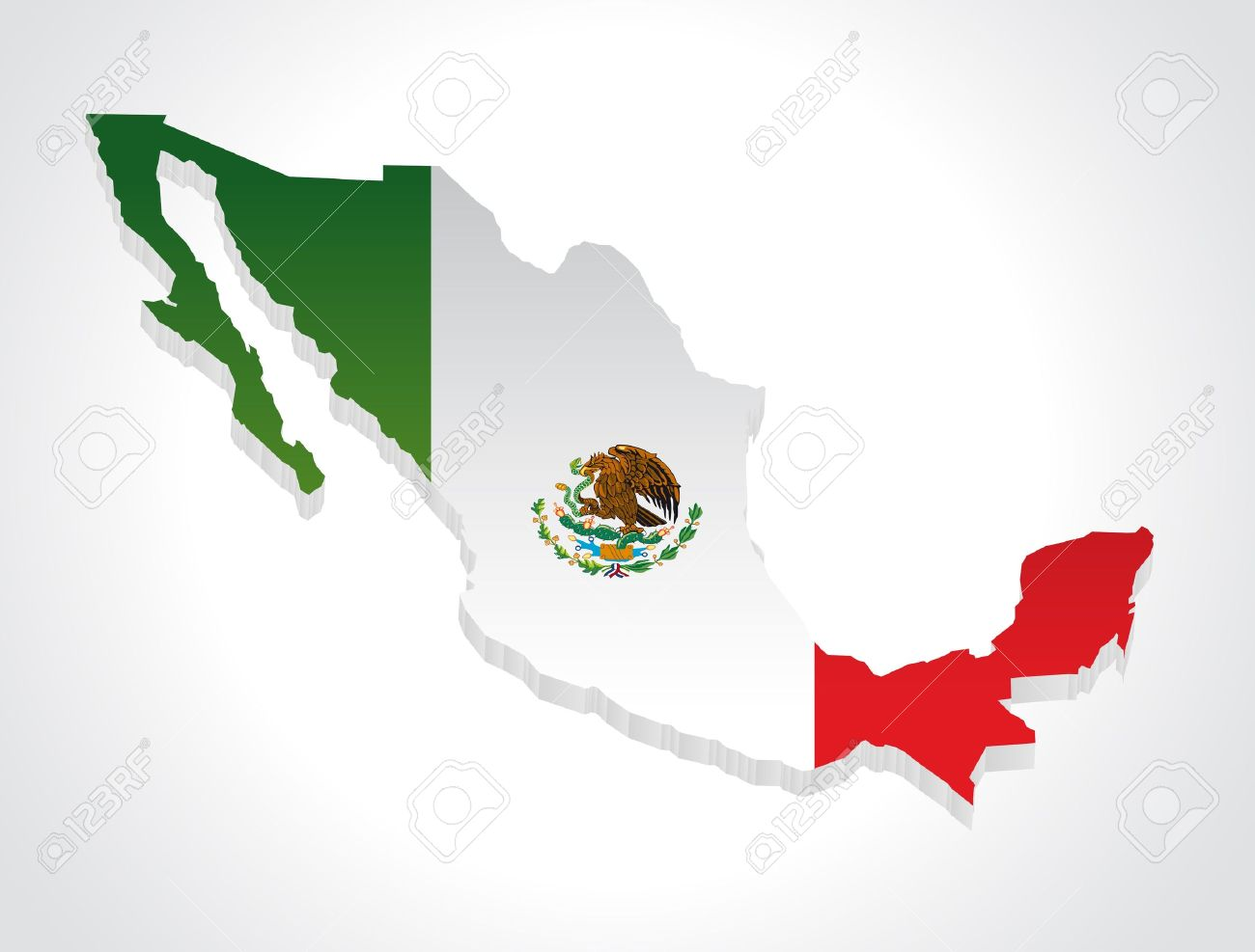 Mapa De Mexico En D Ilustraciones Vectoriales Clip Art - Mapa de mexico